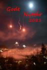 Måne, nødraketter og fyrverkeri over rakett-røyk.