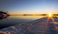 Solnedgang på Piren en vinterdag i januar.