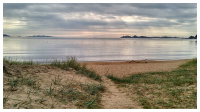 rolig på stranda